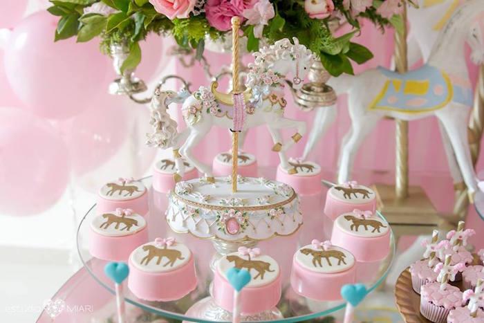 Carousel pony chocolate covered Oreos from an Enchanted Carousel Birthday Party on Kara's Party Ideas | KarasPartyIdeas.com (46)