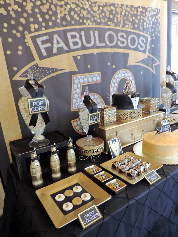Sweet Table From A Fabulous 50 Black Gold Birthday Party Via Karas Ideas