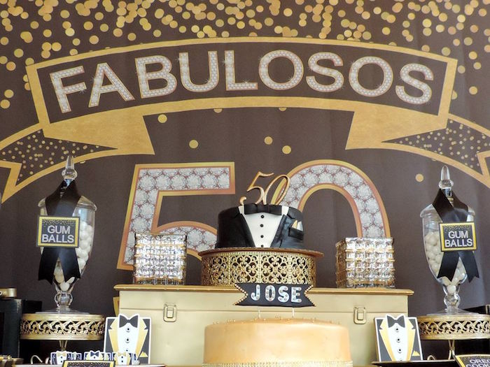 Kara S Party Ideas Fabulous 50th Black Gold Birthday Party