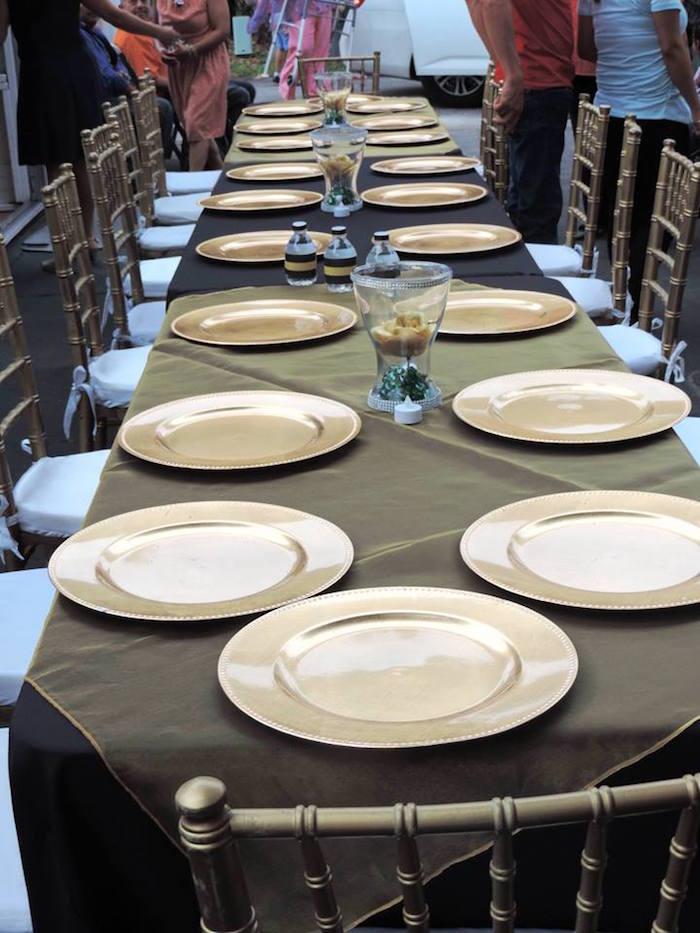 Guest tablescape from a Fabulous 50 Black & Gold Birthday Party via Kara's Party Ideas | KarasPartyIdeas.com (8)