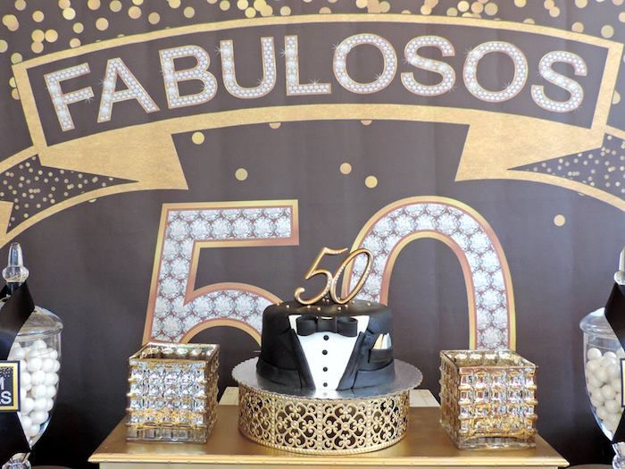 Cake Display From A Fabulous 50 Black Gold Birthday Party Via Karas Ideas