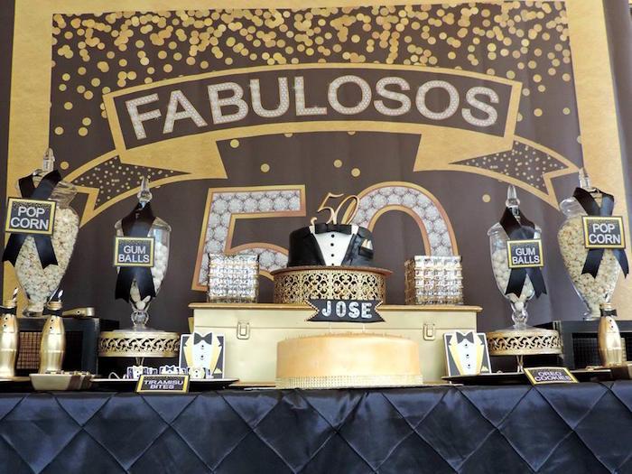 Dessert table from a Fabulous 50 Black & Gold Birthday Party via Kara's Party Ideas | KarasPartyIdeas.com (5)