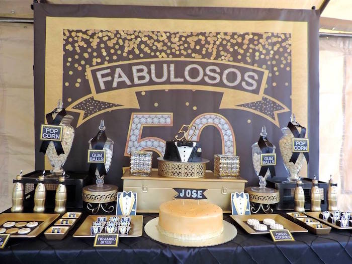Dessert table from a Fabulous 50 Black & Gold Birthday Party via Kara's Party Ideas | KarasPartyIdeas.com (21)