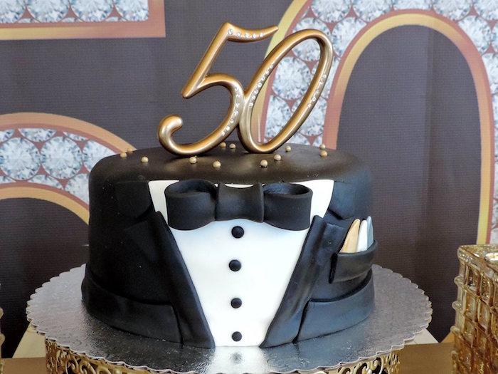 Tuxedo cake from a Fabulous 50 Black & Gold Birthday Party via Kara's Party Ideas | KarasPartyIdeas.com (19)