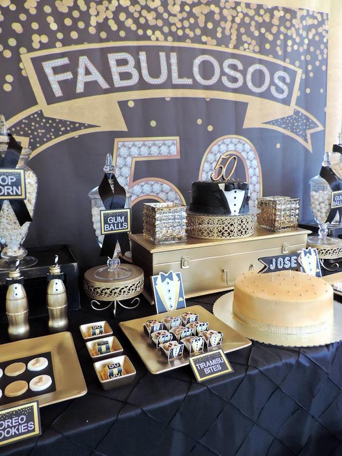 Kara 39 s party ideas fabulous 50th black gold birthday for 50 birthday decoration ideas