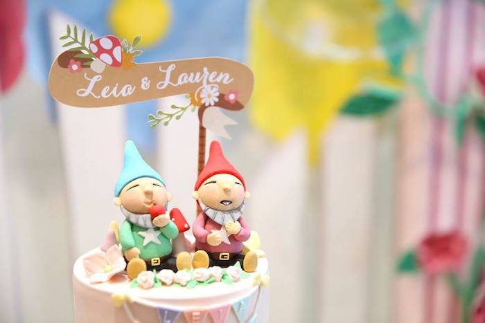 Garden Gnome cake toppers from a Fairy Garden Birthday Party on KarasPartyIdeas.com! Don't miss it! (4)
