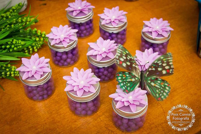 Flower favor jars from a Fairy Garden Birthday Party on Kara's Party Ideas | KarasPartyIdeas.com (31)