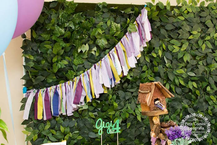 Tassel garland + leaf backdrop from a Fairy Garden Birthday Party on Kara's Party Ideas | KarasPartyIdeas.com (30)