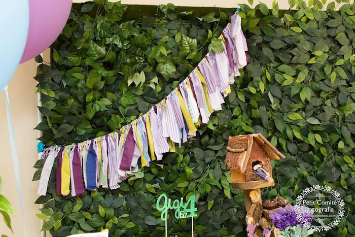 Tassel garland + leaf backdrop from a Fairy Garden Birthday Party on Kara's Party Ideas | KarasPartyIdeas.com (30)