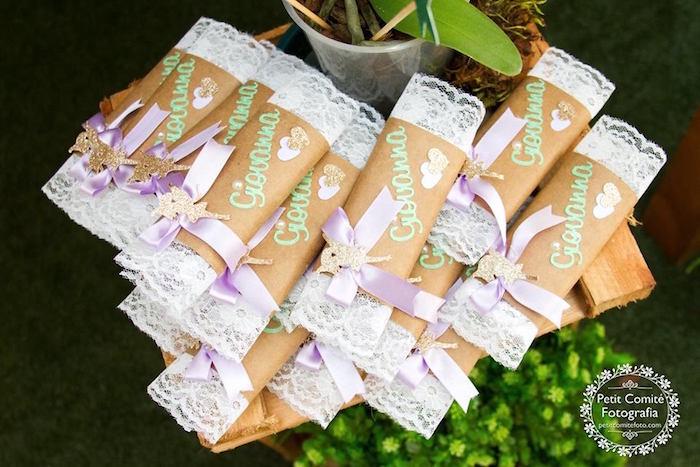 Custom candy bars from a Fairy Garden Birthday Party on Kara's Party Ideas | KarasPartyIdeas.com (27)