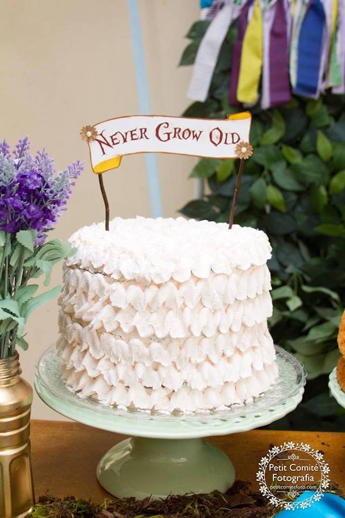 White ruffle cake from a Fairy Garden Birthday Party on Kara's Party Ideas | KarasPartyIdeas.com (25)