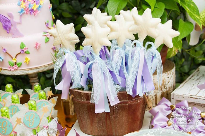 Chocolate star lollipop wands from a Fairy Garden Birthday Party on Kara's Party Ideas | KarasPartyIdeas.com (13)