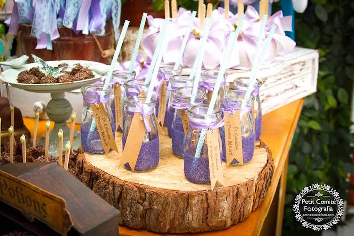Glass milk bottles from a Fairy Garden Birthday Party on Kara's Party Ideas | KarasPartyIdeas.com (12)