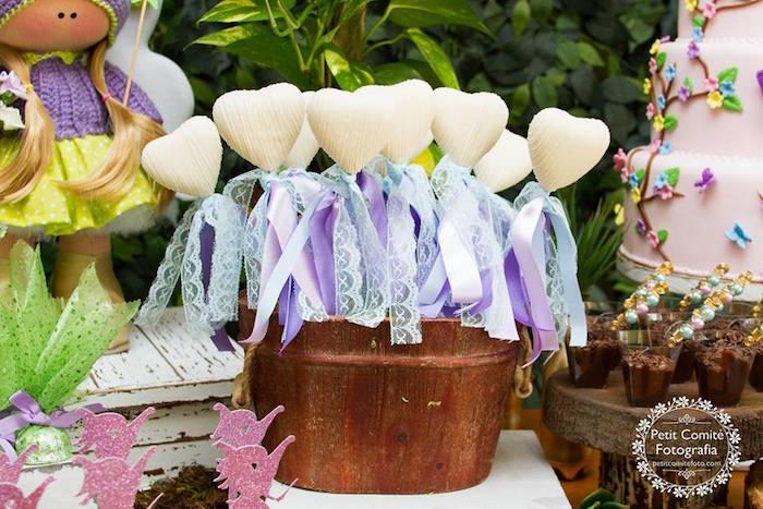 Heart wand lollipops from a Fairy Garden Birthday Party on Kara's Party Ideas | KarasPartyIdeas.com (4)
