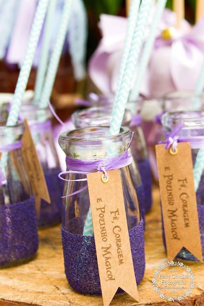 Glass milk bottles from a Fairy Garden Birthday Party on Kara's Party Ideas | KarasPartyIdeas.com (3)