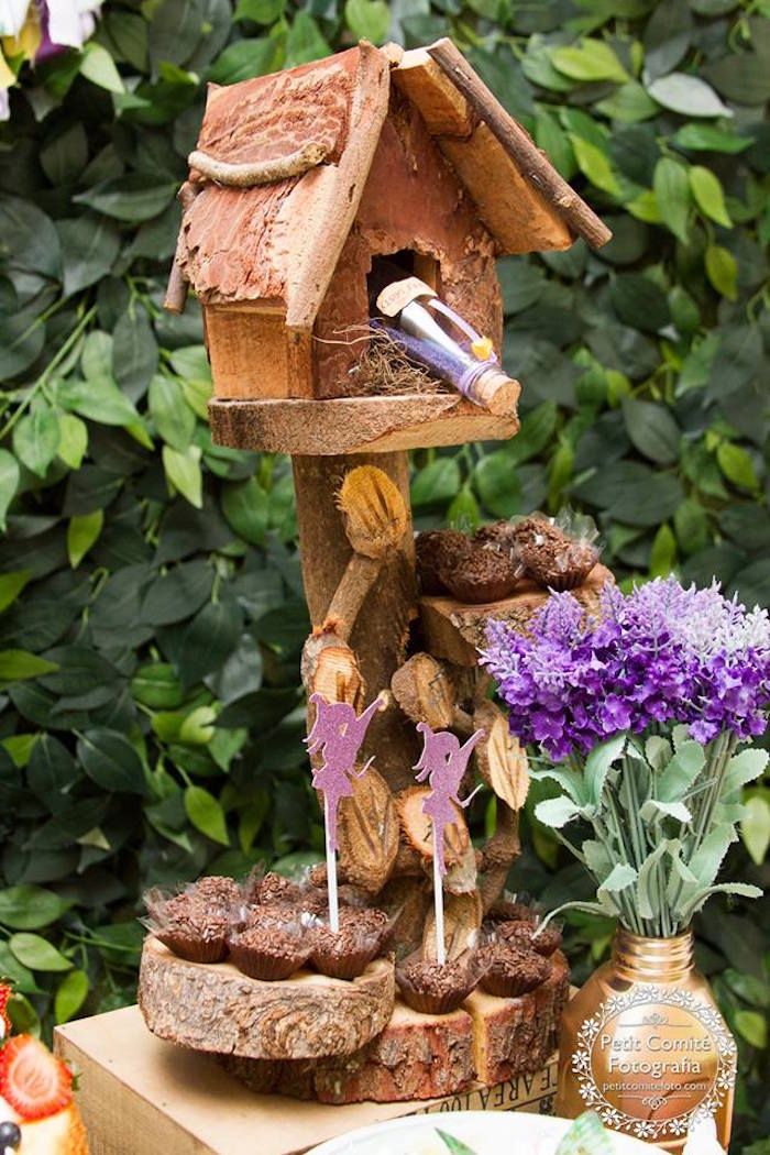 Woodland fairy house from a Fairy Garden Birthday Party on Kara's Party Ideas | KarasPartyIdeas.com (47)