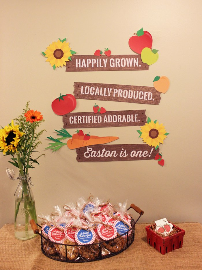 Favors + flowers + party signage from a Farmers Market 1st Birthday Party on Kara's Party Ideas | KarasPartyIdeas.com (38)