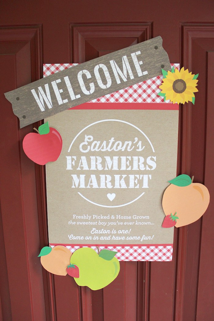 Welcome sign from a Farmers Market 1st Birthday Party on Kara's Party Ideas | KarasPartyIdeas.com (37)