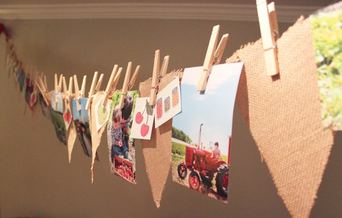 Burlap photo banner from a Farmers Market 1st Birthday Party on Kara's Party Ideas | KarasPartyIdeas.com (36)