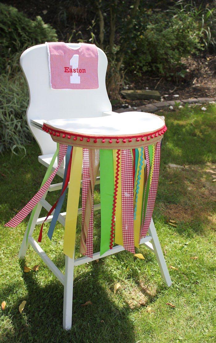 High chair from a Farmers Market 1st Birthday Party on Kara's Party Ideas | KarasPartyIdeas.com (31)