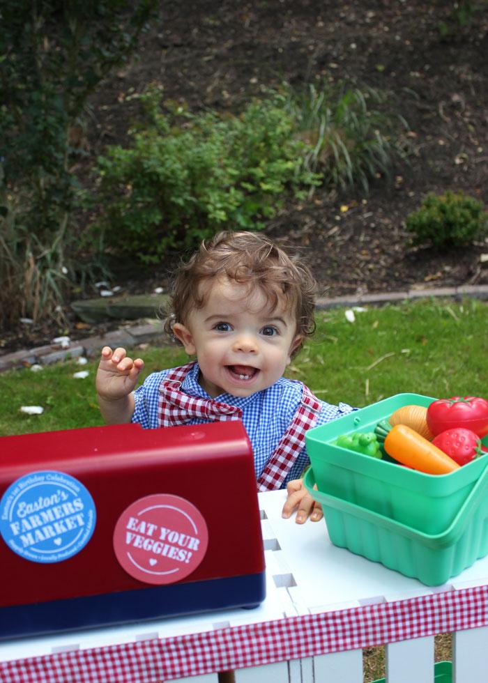 Birthday boy from a Farmers Market 1st Birthday Party on Kara's Party Ideas | KarasPartyIdeas.com (47)