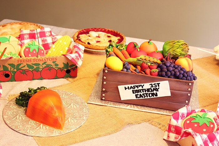 Cake & dessert table from a Farmers Market 1st Birthday Party on Kara's Party Ideas | KarasPartyIdeas.com (23)