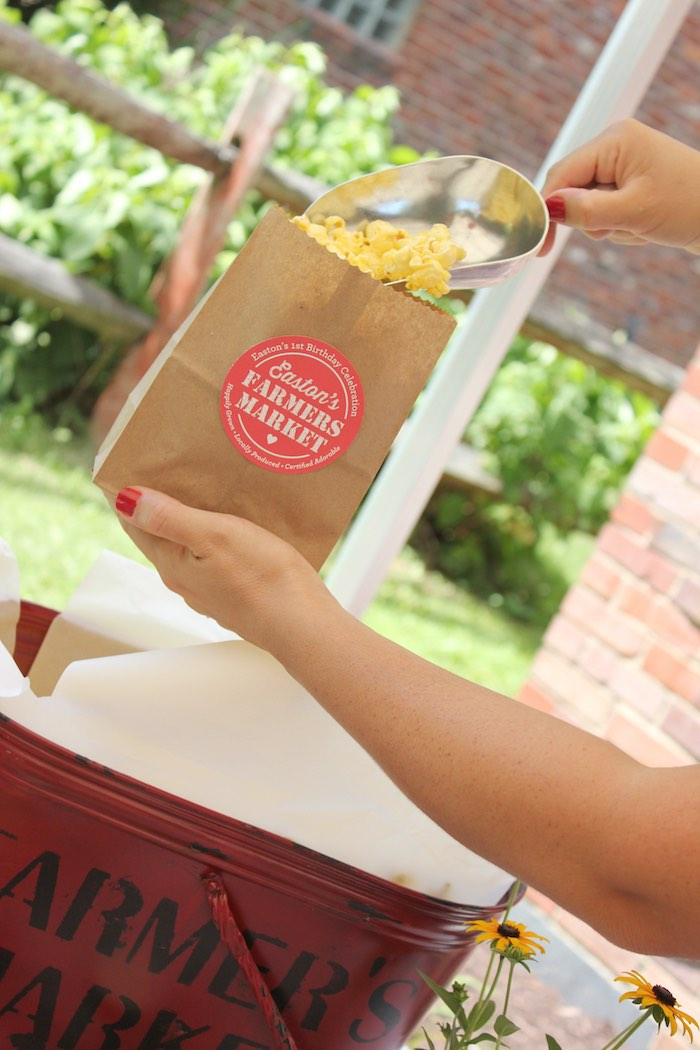 Popcorn bar from a Farmers Market 1st Birthday Party on Kara's Party Ideas | KarasPartyIdeas.com (19)