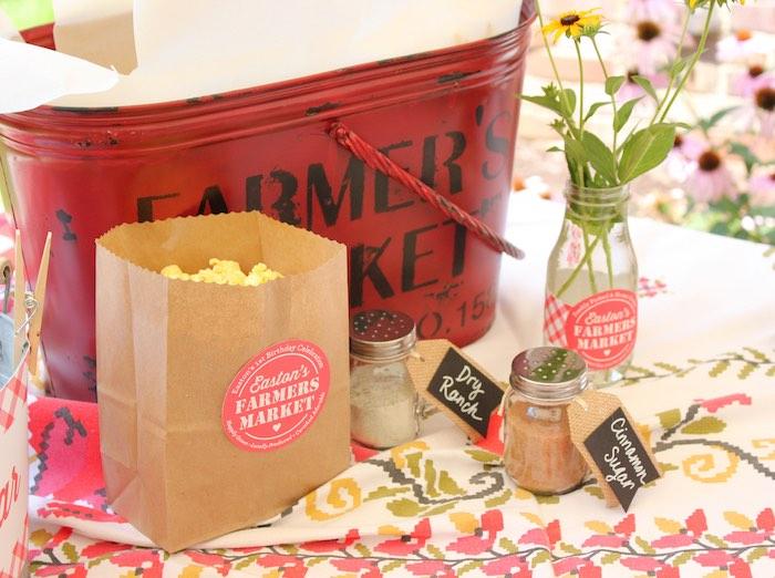 Popcorn bar from a Farmers Market 1st Birthday Party on Kara's Party Ideas | KarasPartyIdeas.com (18)