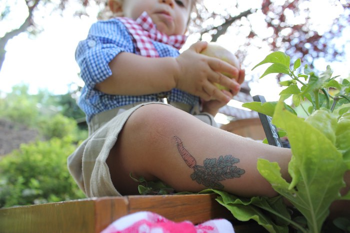 Temporary carrot tattoo from a Farmers Market 1st Birthday Party on Kara's Party Ideas | KarasPartyIdeas.com (16)