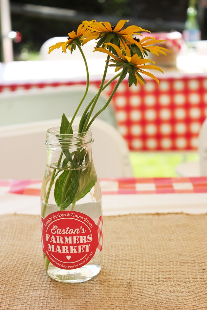 Black Eyed Susan flower centerpiece from a Farmers Market 1st Birthday Party on Kara's Party Ideas | KarasPartyIdeas.com (12)