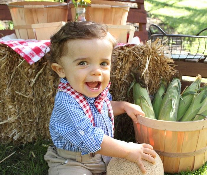 Little farmer from a Farmers Market 1st Birthday Party on Kara's Party Ideas | KarasPartyIdeas.com (9)