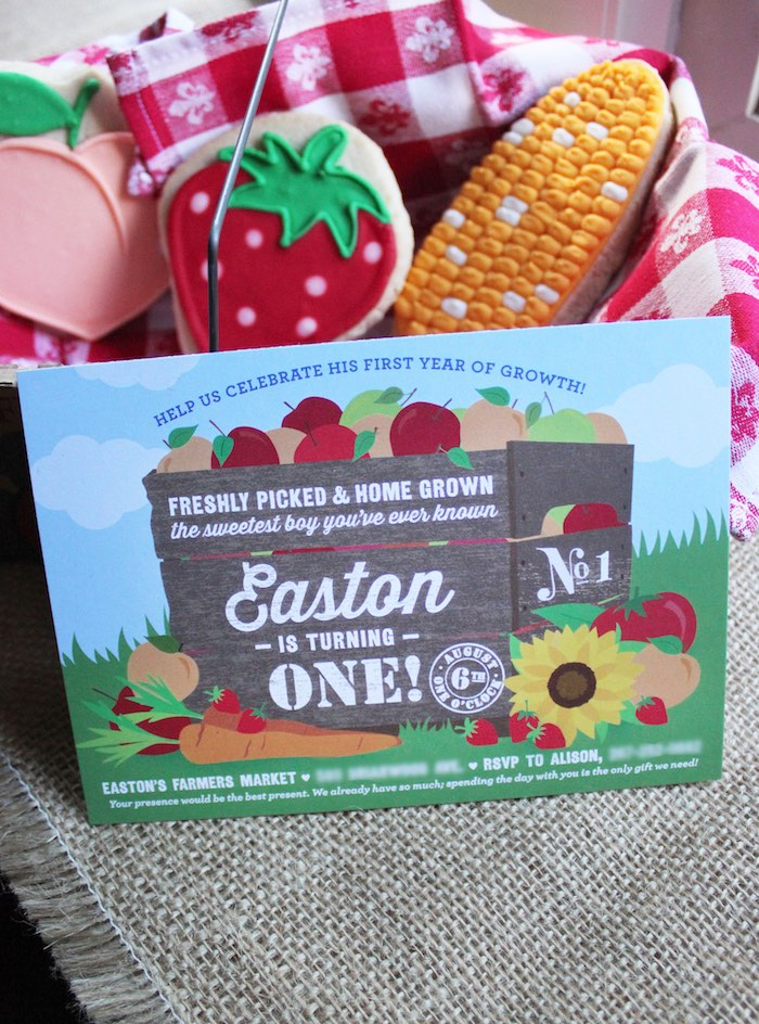 Invitation from a Farmers Market 1st Birthday Party on Kara's Party Ideas | KarasPartyIdeas.com (6)