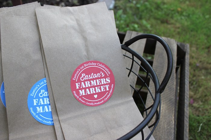 Brown paper bags from a Farmers Market 1st Birthday Party on Kara's Party Ideas | KarasPartyIdeas.com (44)