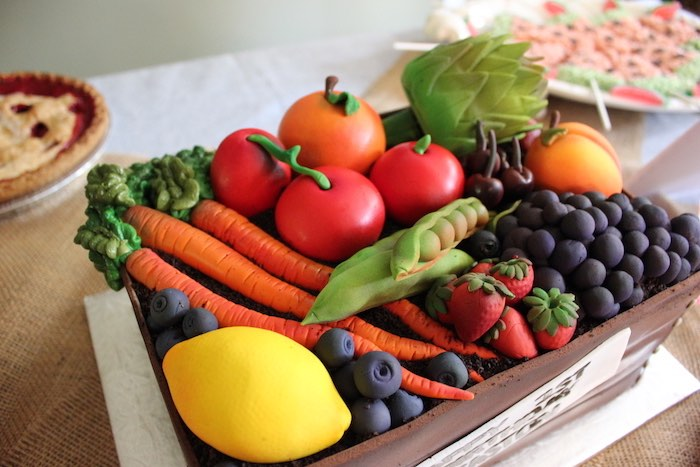 Produce bin cake from a Farmers Market 1st Birthday Party on Kara's Party Ideas | KarasPartyIdeas.com (41)