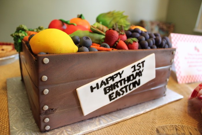 Produce bin cake from a Farmers Market 1st Birthday Party on Kara's Party Ideas | KarasPartyIdeas.com (40)