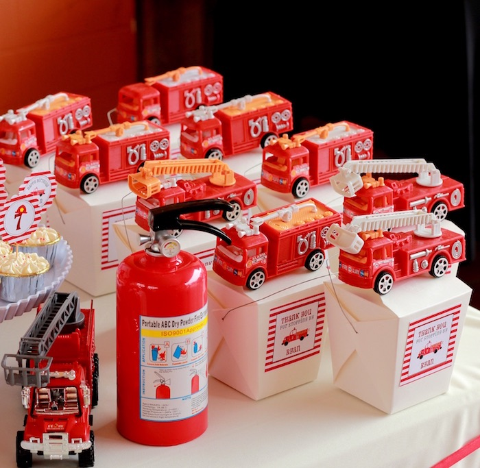 Favor boxes from a Firefighter Birthday Party via Kara's Party Ideas | KarasPartyIdeas.com (19)