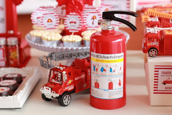 Firetruck and fire hydrant decorations from a Firefighter Birthday Party via Kara's Party Ideas | KarasPartyIdeas.com (17)