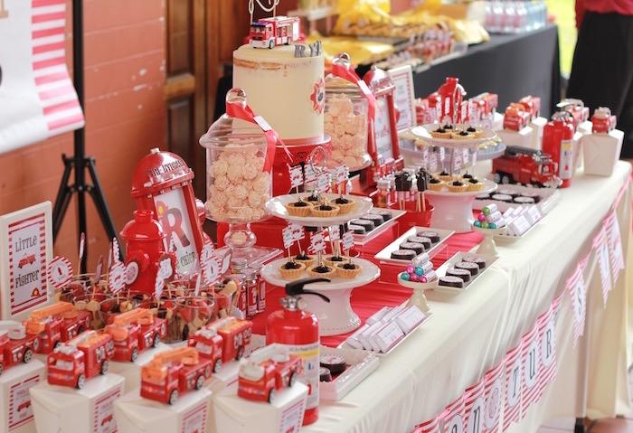 Sweet tablescape from a Firefighter Birthday Party via Kara's Party Ideas | KarasPartyIdeas.com (16)