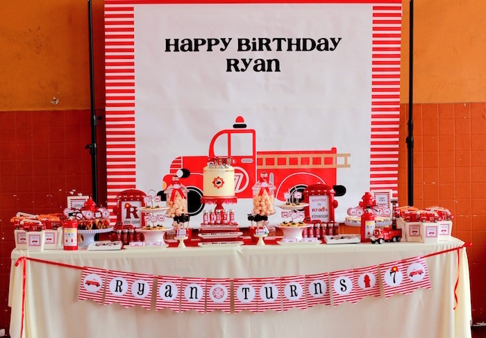 Firetruck sweet table from a Firefighter Birthday Party via Kara's Party Ideas | KarasPartyIdeas.com (15)