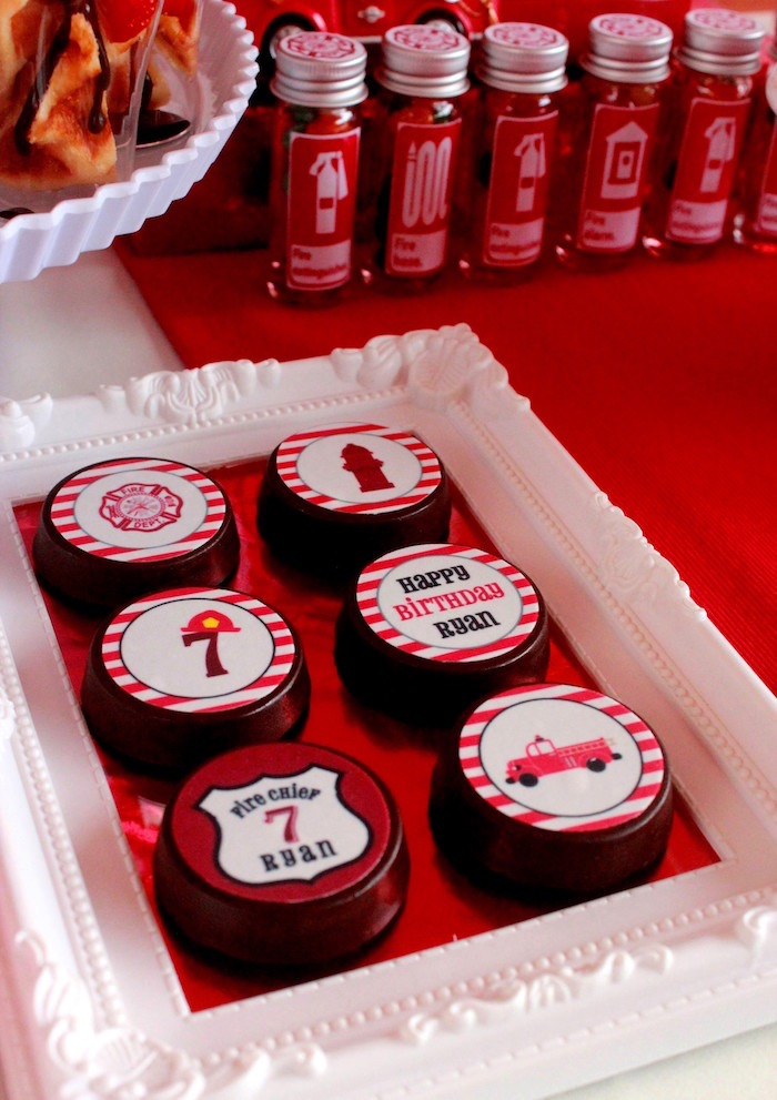 Chocolate covered Oreos from a Firefighter Birthday Party via Kara's Party Ideas | KarasPartyIdeas.com (10)