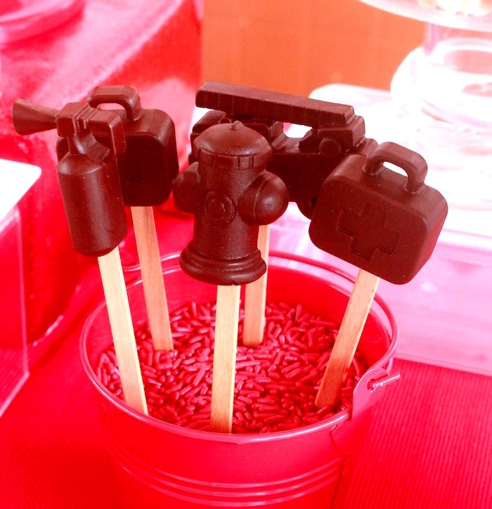 Fireman-inspired pops from a Firefighter Birthday Party via Kara's Party Ideas | KarasPartyIdeas.com (8)