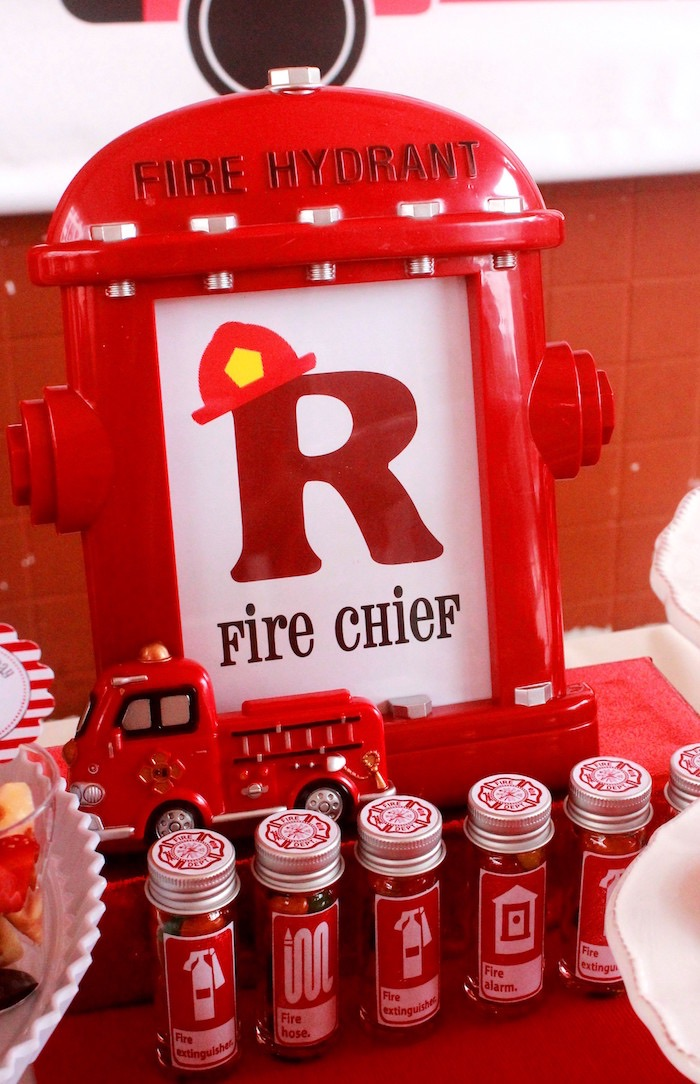 Fire hydrant frame from a Firefighter Birthday Party via Kara's Party Ideas | KarasPartyIdeas.com (5)
