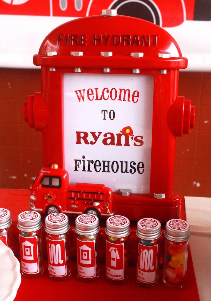Fire hydrant welcome sign from a Firefighter Birthday Party via Kara's Party Ideas | KarasPartyIdeas.com (4)