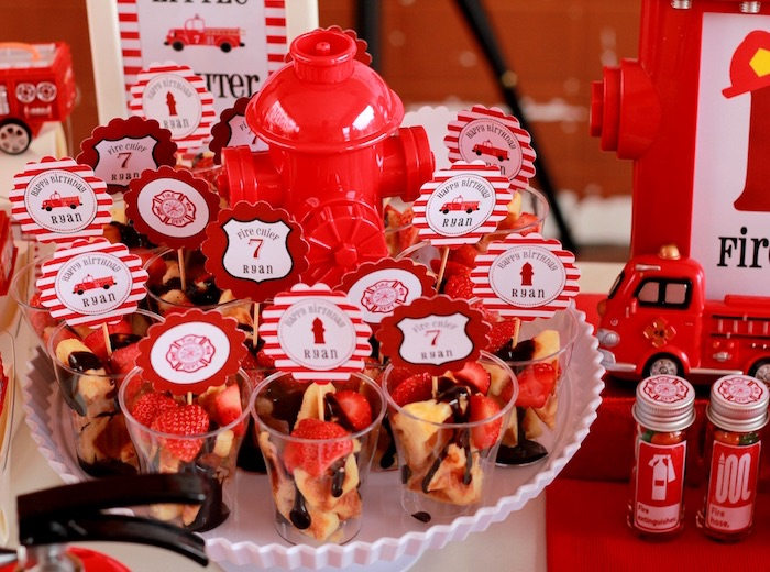 Fruit cups from a Firefighter Birthday Party via Kara's Party Ideas | KarasPartyIdeas.com (3)