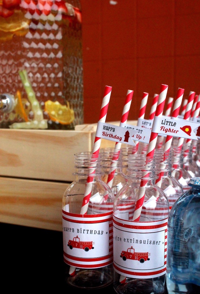 Water bottles from a Firefighter Birthday Party via Kara's Party Ideas | KarasPartyIdeas.com (2)