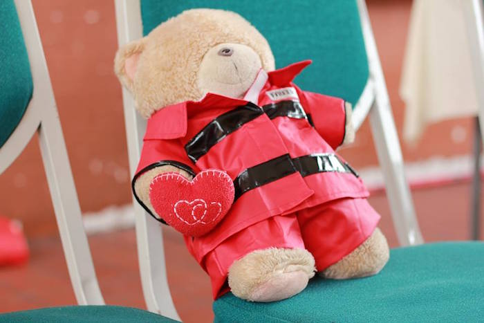 Fireman teddy bear from a Firefighter Birthday Party via Kara's Party Ideas | KarasPartyIdeas.com (27)