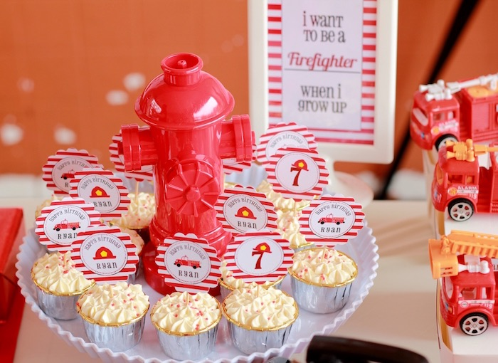 Cupcakes from a Firefighter Birthday Party via Kara's Party Ideas | KarasPartyIdeas.com (25)