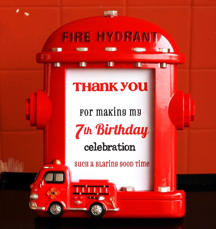 Fire hydrant frame + party signage from a Firefighter Birthday Party via Kara's Party Ideas | KarasPartyIdeas.com (23)