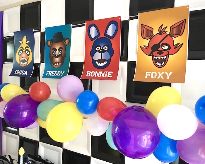 Backdrop from a Five Nights At Freddy's Birthday Party on Kara's Party Ideas | KarasPartyIdeas.com (13)