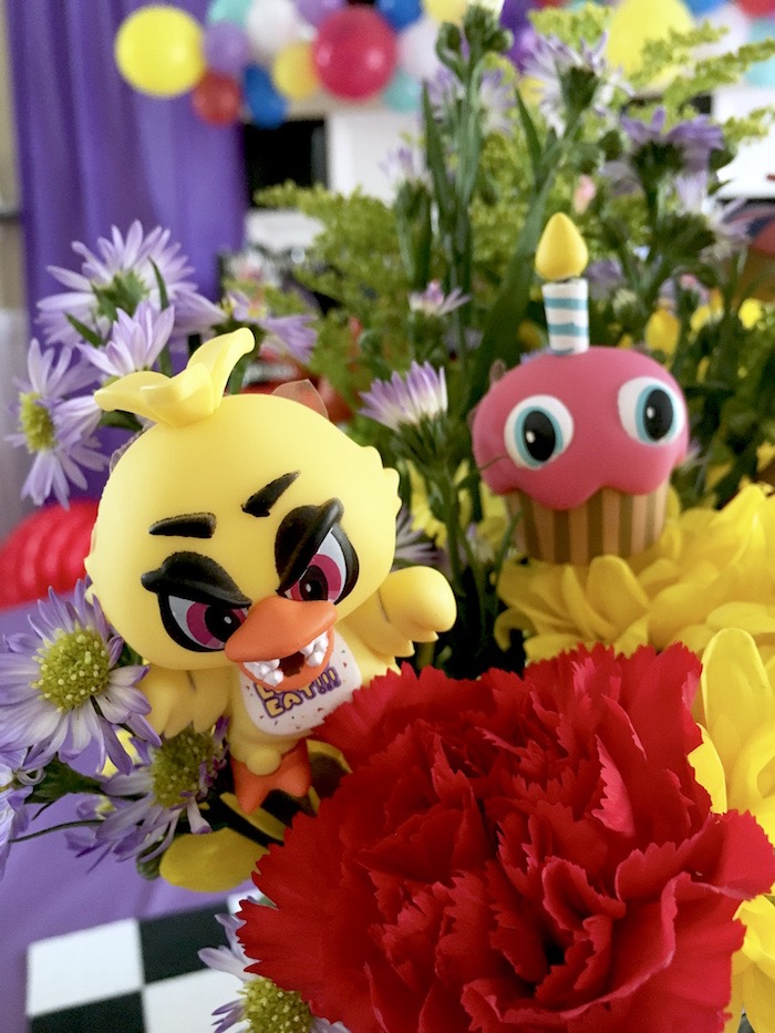 Five Nights At Freddy's floral arrangement from a Five Nights At Freddy's Birthday Party on Kara's Party Ideas | KarasPartyIdeas.com (12)